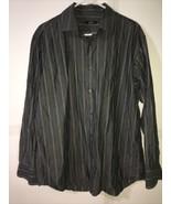 Men's Alfani Grey Striped Button Down Size L 16 34-35 100% Cotton - $9.99