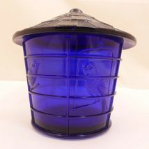 NOS Vintage IMPERIAL COBALT BLUE Glass BIRD CAGE Covered JAR Canister SUMMIT image 3