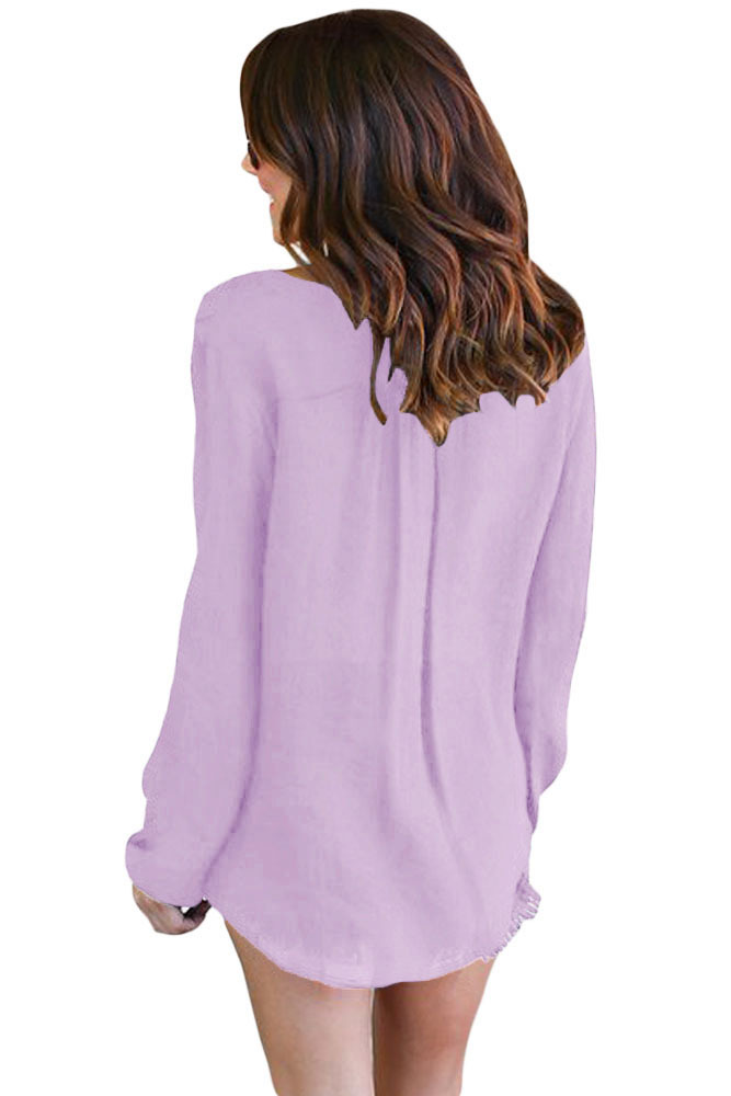 Lilac Bamboo Lace up Blouse