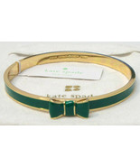 NEW Kate Spade New York EMERALD GREEN BOW Gold Plated Bangle Moon River ... - $39.59