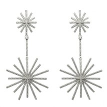 Pave Star Burst Signity CZ Sterling Silver Celebrity Motion Linear Earrings - $199.99