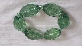 "VINTAGE CHUNKY 7""GREEN SHATTERED FAUX GLASS STRETCH BRACELET, 1.25""FACET... - $4.94"