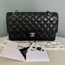 Brand Nwt Chanel 2018 Black Quilted Caviar Medium Double Flap Bag Shw Receipt - $4,888.00