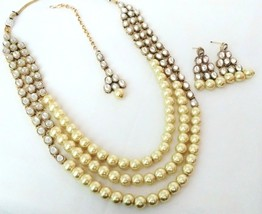 Indian Bollywood Golden Gold Plated Kundan Fashion Bridal Jewelry Necklace Set 2 - $22.79