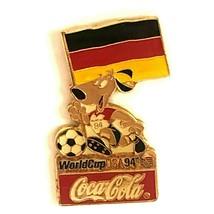 Coca Cola Bulgaria World Cup 1994 Lapel Pin Flag Striker the Dog Soccer Ball - $13.99