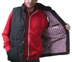 Orisue Mens Gladden Polyfill Black Puffy Golf Vest with Plaid Lining Large NWT image 4
