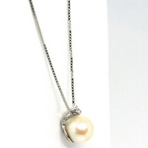 18K WHITE GOLD NECKLACE AKOYA PEARL 6.5 MM AND DIAMOND, PENDANT & VENETIAN CHAIN image 2