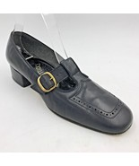 Vintage Enna Jetticks Black Leather T Strap Buckle Block Low Heels size ... - $19.95