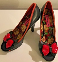 "BETSEY Ville JOHNSON XOX Shoes High Heel Pumps Black Red Bow Peep Toe 4""... - $42.52"