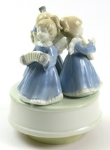 "Vintage Music Box, Ceramic White & Blue Angels Playing ""Silent Night"", J... - $29.69"