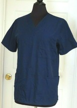 Scrubs, Short Sleeves, 3 Pockets, Split Sides, V-Neck, Blue, S  - $4.70