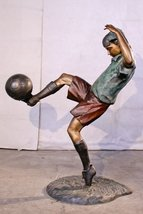 Girl Playing Soccer Solid American Bronze Jumbo Size Statue Sculpture - $2,636.20