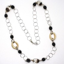 Silver necklace 925, Oval Satin Yellow, Nuggets BICOLOR, Chain Rolo, 60 cm image 2