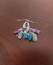 Multi Colored Dream Catcher Earrings - blue pink and silver dream catchers  - $10.00