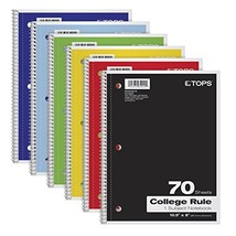 """TOPS 1-Subject Notebooks, Spiral, 8"""" x 10-1/2"""", College Rule, Color Asso... - $12.10 CAD"""