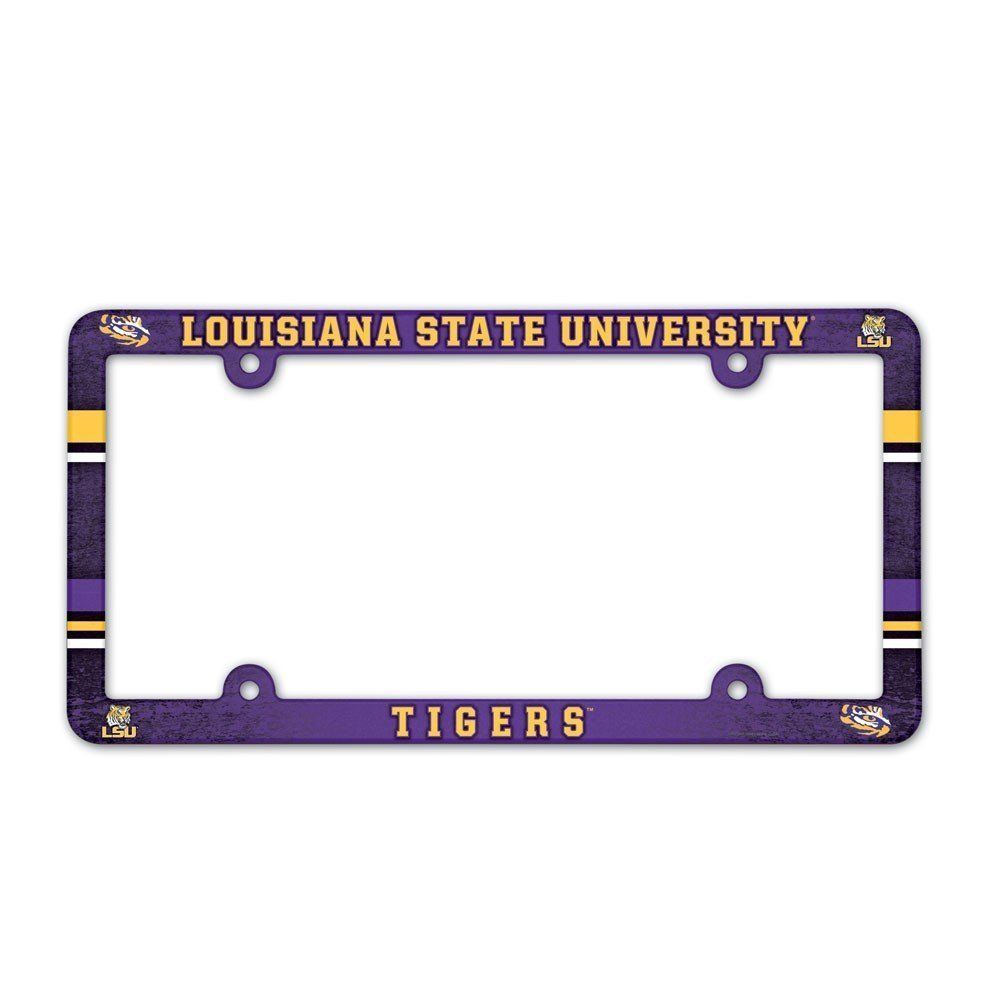 LSU TIGERS COLOR CAR AUTO PLASTIC LICENSE PLATE TAG FRAME NCAA