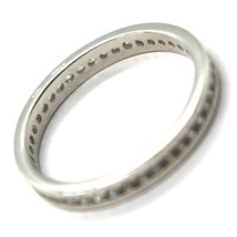 18K WHITE GOLD ETERNITY BAND BINARY RING, WHITE CUBIC ZIRCONIA, THICKNESS 3 MM image 2