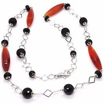 SILVER 925 NECKLACE, AGATE RED, ONYX BLACK, LONG 31 1/2in, CHAIN SQUARED image 3