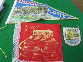 Great Set of THREE Collectables from GREECE-Pennant,Handkerchef &  Patch... - $7.92