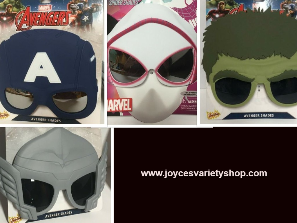 Primary image for Marvel Avengers Spider Hulk Thor Captain Shades Sunglasses Masks Variety Age 3+