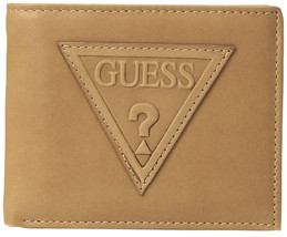 Guess Men's Leather Credit Card ID Billfold Rfid Wallet Tan 31GU220014