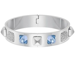 AUTHENTIC SWAN SIGNED SWAROVSKI GLANCE BLUE BANGLE BRACELET 5272075 - $99.00