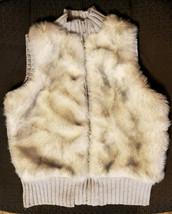 GYMBOREE – Girl's Light Gray Faux Fur Zip-Up Sweater Vest – Size: Medium 7-8 - $15.84