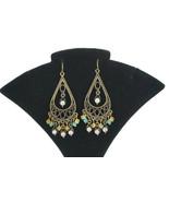 Vintage Bronze Tone Tear Drop Dangle Ear Rings Rhinestone Beads - $13.99