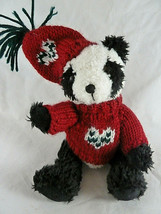 """Hugfun 9""""  Panda Bear Fully Jointed with hand knit sweater & hat sold by... - $14.84"""
