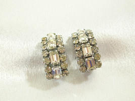 Sparkling Clear Rhinestone Half Hoop Clip on Earrings Party Prom Vintage Estate  - $15.79