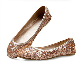 Women Sequin Champagne Evening Party Ballet Flat Shoes us Size 5,6,7,7.5,8,8.5,9 - $38.00