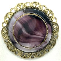 West Germany Brooch Pin Purple Amethyst Cabochon Gold Tone Filigree Vintage 2 In - $24.95