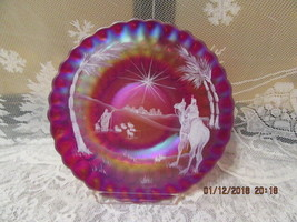 "Fenton Art Glass 1992 Red Carnival Hp Christmas Thumbprint Bethlehem Scene 8"" Pl - $155.00"