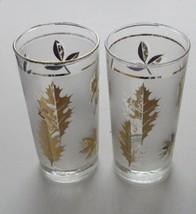 Libbey Gold Leaf Frosted Vintage Tumblers Foiled Maple Leaf 2 glasses - $14.84