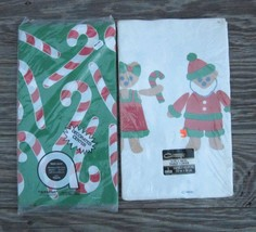 CHRISTMAS PAPER TABLE COVERS AMSCAN CONTEMPO CANDY CANES and SANTA BEARS... - $7.59