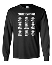 671 Zombie Emotions Long Sleeve Shirt dead funny scary horror gore halloween - $18.00+