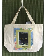 """Small Cat Art Canvas Tote Bag  - """"Black Cat and Forget-Me-Nots"""" - $23.00"""