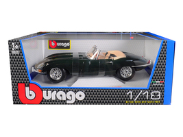 1961 Jaguar E Type Convertible Green 1/18 Diecast Model Car by Bburago - $65.98