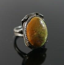 Vintage .925 Sterling Silver Southwestern Cabochon Green Orange Size 5.5... - $29.92
