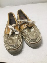 Sz 6 Women's Sperry Top-Sider Shoes Gold Silver Sequins Boat Shoe  - $10.40
