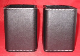 Pencil Holder Black Leather Set of 2 Dimensions-3LX3WX4H Inches - $12.34