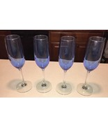"Cobalt/Royal Blue Clear Stem Two-Tone 9.25"" T Champagne Glasses Flutes S... - $24.74"