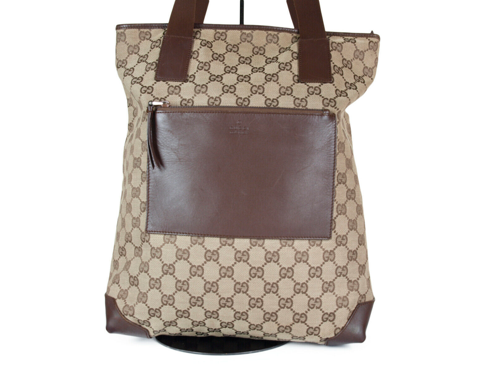 Auth GUCCI GG Pattern Canvas Leather Browns Shoulder Bag GS2083