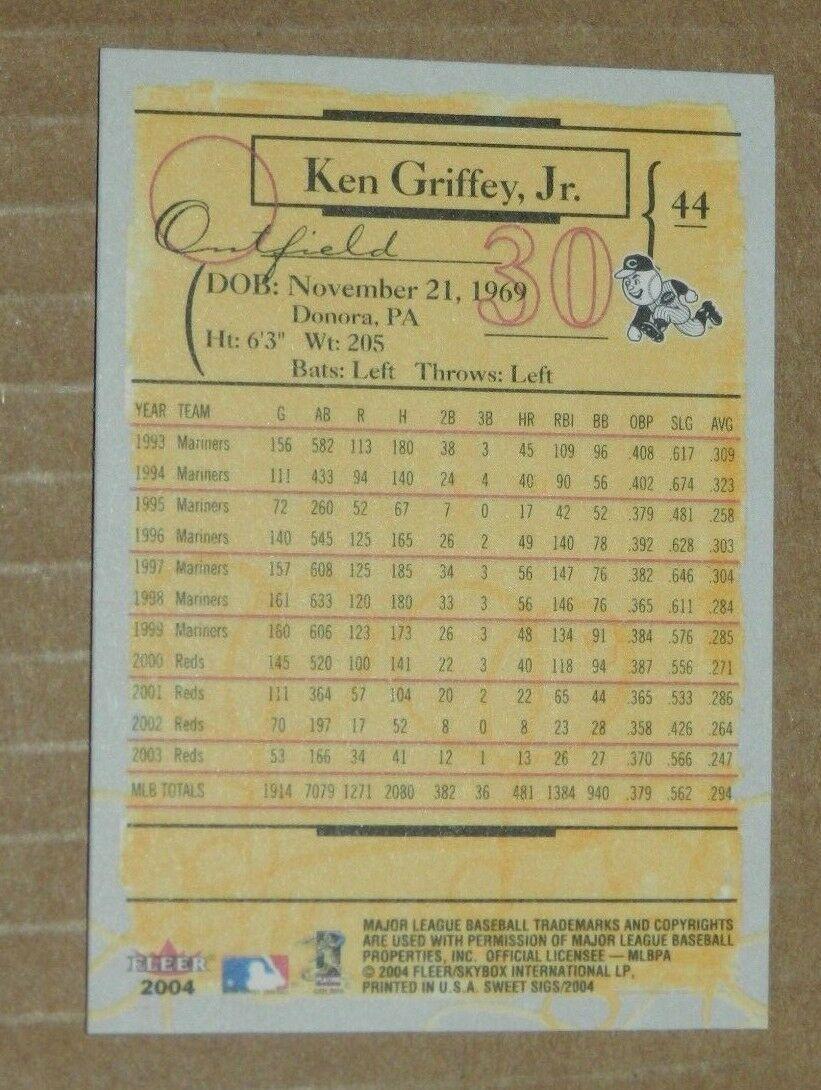 2004 FLEER SWEET SIGS KEN GRIFFEY JR REDS #44