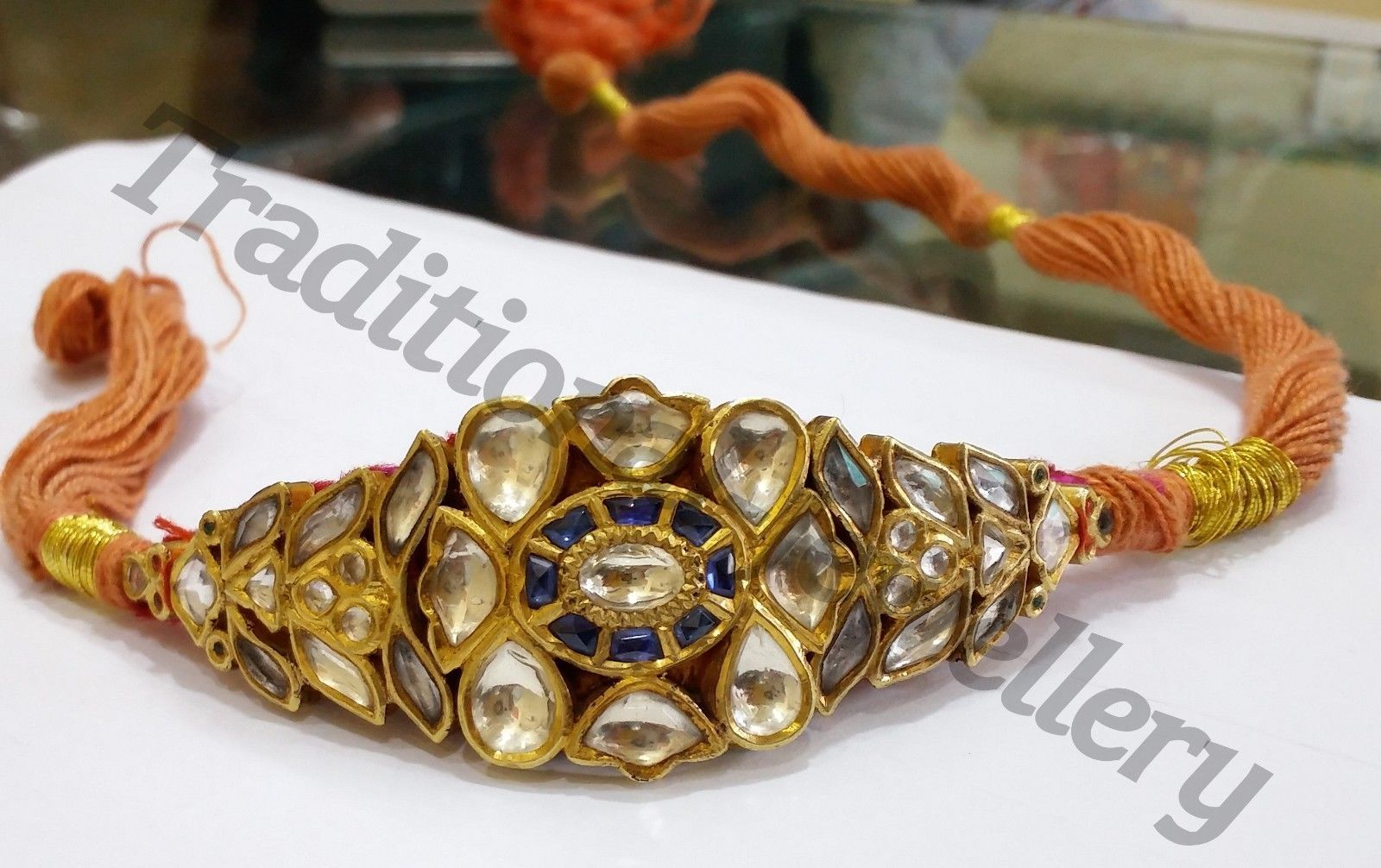 Primary image for FABULOUS 22K YELLOW GOLD HANDMADE JADAU BRACELET GORGEOUS CUFF BRACELET BANGLE