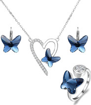 EleQueen 925 Sterling Silver Love Heart Butterfly Denim Blue Made with S... - $153.80