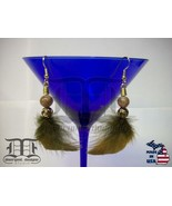 Gold Rose Copper Beads Brown Feather Dangle Earrings - Made In U.S.A. - $19.98
