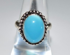 VTG .925 Sterling Silver Light Blue Frosted Glass Cabochon Stone Ring Size 6.5 - $39.60