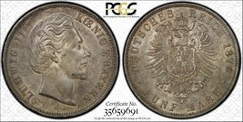 1876-d Alemán Estados Baviera 5 Marks Calidad Au58 Lote #G902 de Plata !... - $466.98