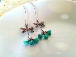 Dragonfly Earrings Turquouse Bell Flower Earrings Silver Dragonfly Earri... - $24.00